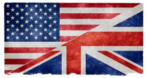 Flag split between the American and British flags