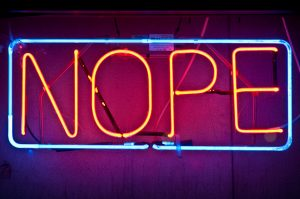 "Neon sign reading ""Nope"""