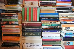 Haphazard stacks of books