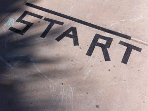 Start line on pavement