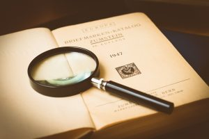 Magnifying glass on a book