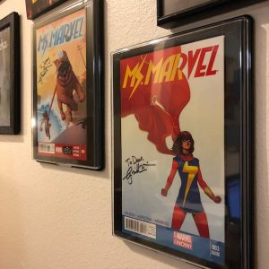 Cover art from two issues of Ms. Marvel
