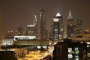 Philadelphia nighttime skyline