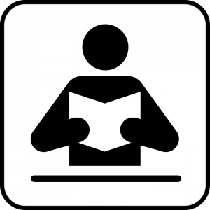 Icon of person reading a book