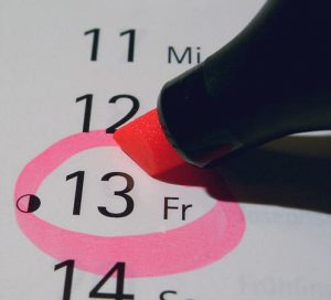 Friday the 13th circled on a calendar