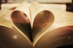 Pages of a book in the shape of a heart