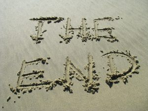 The End written in the sand