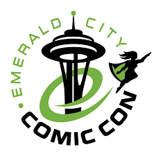 Emerald City Comic Con logo of a superhero flying around the Space Needle