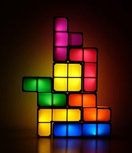 Tetris-shaped blocks arranged as a lamp