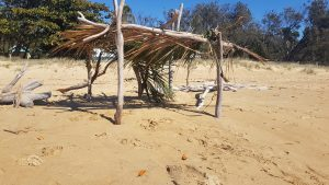 Makeshift shelter constructed of wood and leaves on a sunny beach