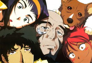 Characters from Cowboy Bebop with all their faces squeezed into the frame