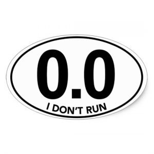 "Fake marathon sticker with 0.0 miles and ""I Don't Run"" listed"
