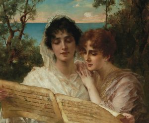 Conrad Kiesel's Young Ladies Reading a Manuscript