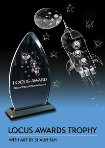 Glass trophy with art by Shaun Tan depicting a rocket ship, stars, and moon
