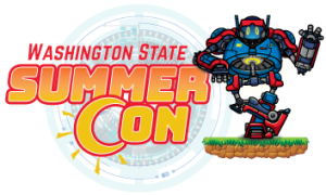 Washington State Summer Con logo, featuring a large blue and red robot