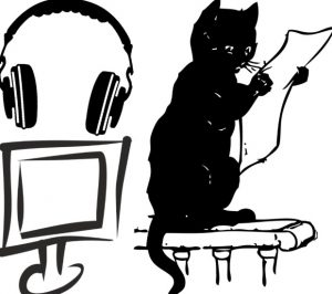 Clip art of headphones, TV screen, and cat reading a sheet of paper