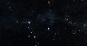 Starscape showing a constellation and planet location