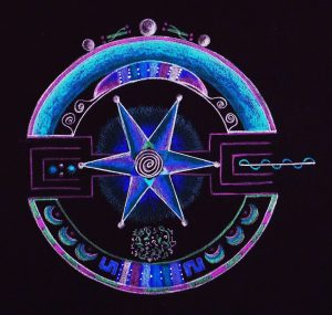 Drawing in blues and pinks on black background of an alchemical or magical symbol