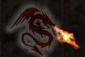 Fire breathing two-dimensional dragon