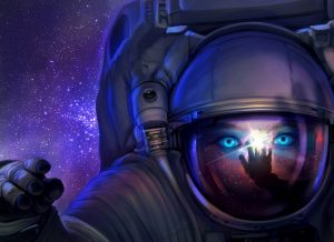 Cover art for the Young Explorer's Adventure Guide vol. 6, featuring a blue-eyed young person in a space suit on a purple starry background
